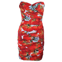 DOLCE & GABBANA Ruched Stretch Silk Fruit Print Dress Size 38