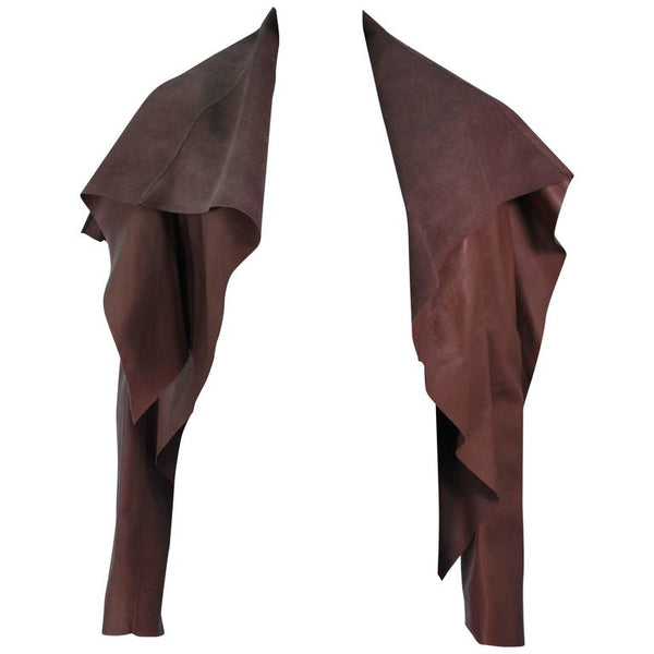 RICK OWENS Brown Leather Drape Jacket w/ Pleated Back Size 38
