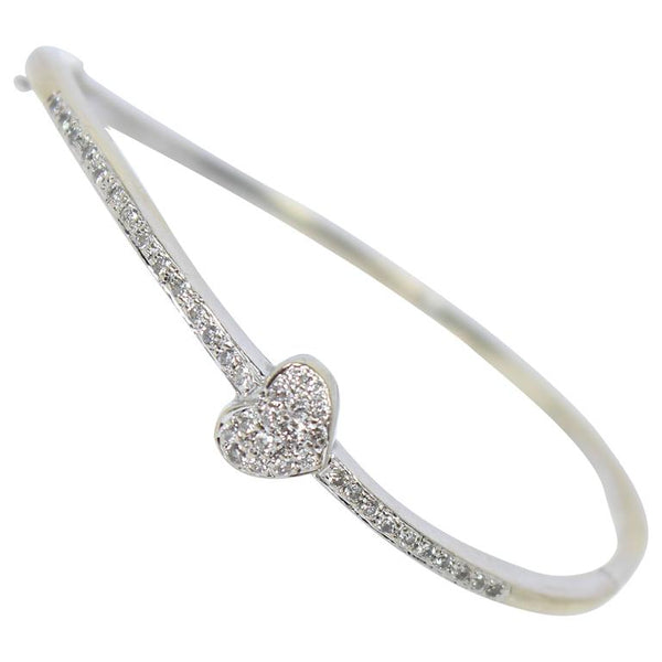 DIAMOND 18 Karat White Gold Heart Bangle Bracelet