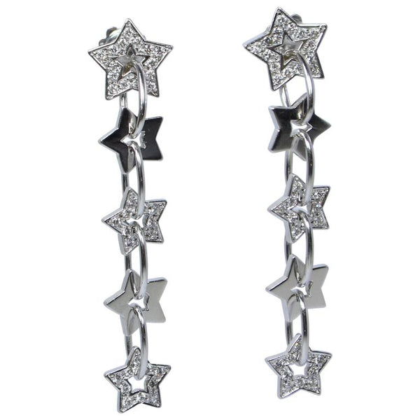 Pave Diamond Gold Dangle Star Earrings
