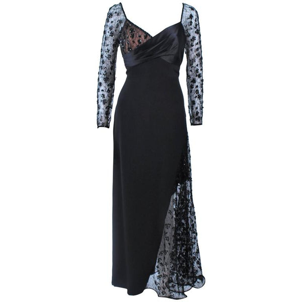 TRAVILLA Black Silk Beaded Gown with Lace Size 8