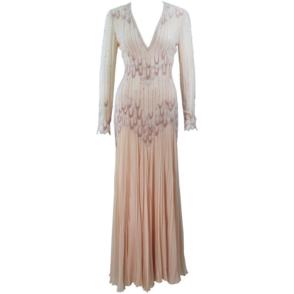 RENATO BALESTRA Nude Chiffon Gown with Beaded Design Size 6-8