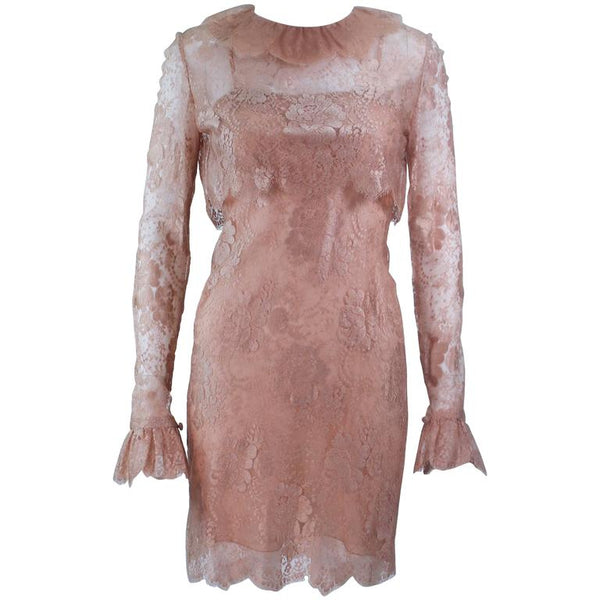 BILL BLASS Peach Lace Cocktail Dress with Over Blouse Size 6