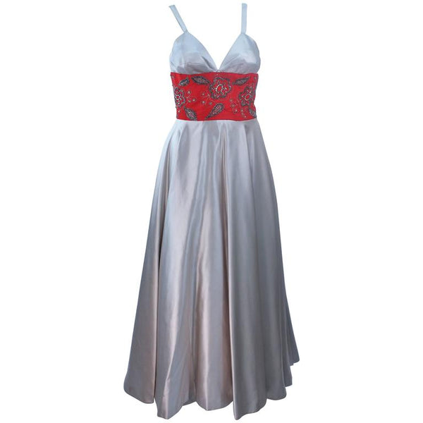 ELEANORA GARNETT 1950s Silver and Red Silk Gown Size 2
