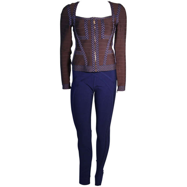 HERVE LEGER Gray Bandage Zip Top and Blue Leggings Size M