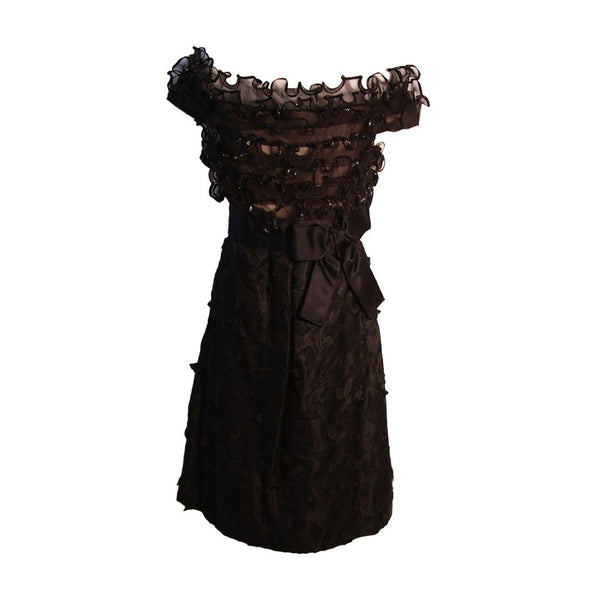 ARNOLD SCAASI Black Ruffled Silk Cocktail Dress with Bow Size 10