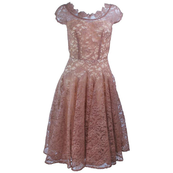 VINTAGE Circa 1950s Peach Lace Chiffon Cocktail Dress Size 8