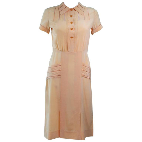 VINTAGE Circa 1940s Apricot Silk Day Dress Size 2-4