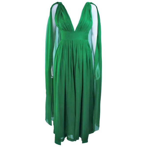 VINTAGE Circa 1950s Green Draped Chiffon Cocktail Dress Size 4-6