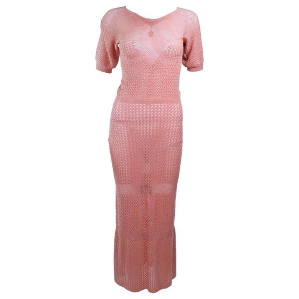 VINTAGE Circa 1940s Terracotta Crochet Knit Dress Size 2-4