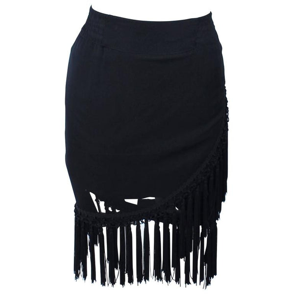 DIANE FREZ Black Chiffon Wrap Skirt with Tassels Size 4 6