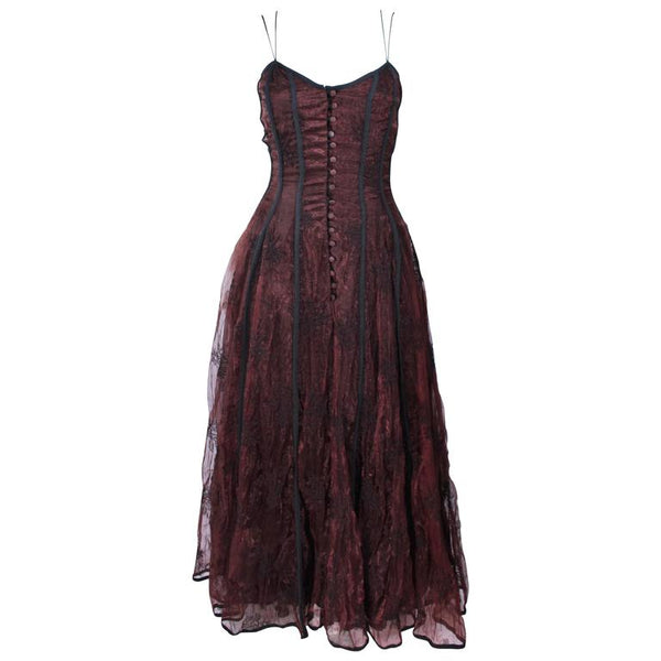 KAAT TILLY Brown Crinkled Lace Corset Lace Gown Size 36