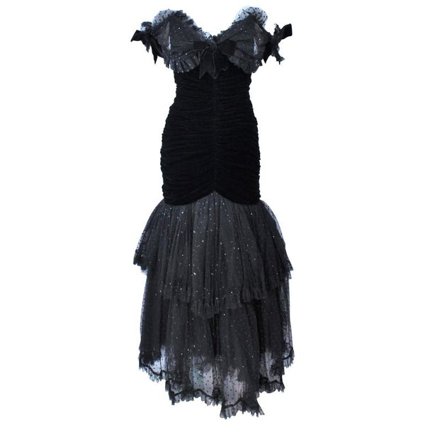 BELVILLE SASSON Black Velvet and Lace Ruched Gown Size 2
