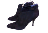 PHILIPPE MODEL Black Satin Ankle Boot with Suede Trim Size 7 1/2