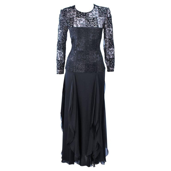 CAROLINA HERRERA Black Metallic Lace and Chiffon Gown Size 8-10
