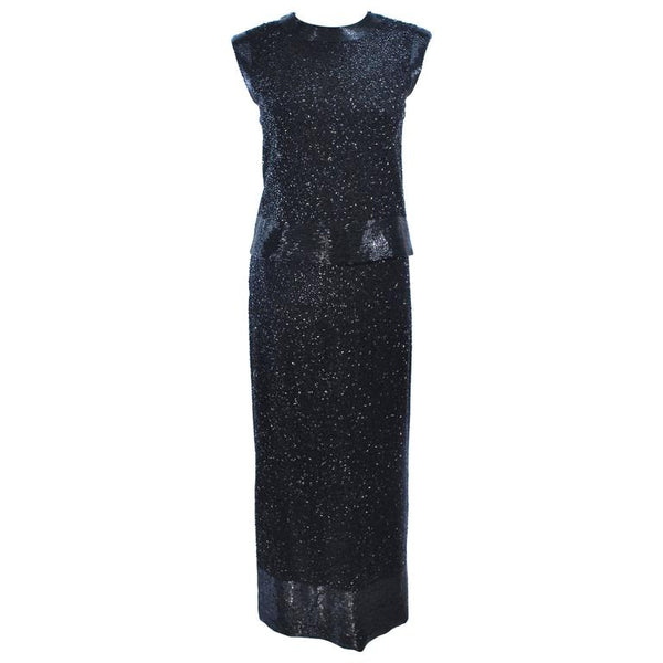 CEIL CHAPMAN 1960s Black Hand-Beaded Evening Ensemble Size 6