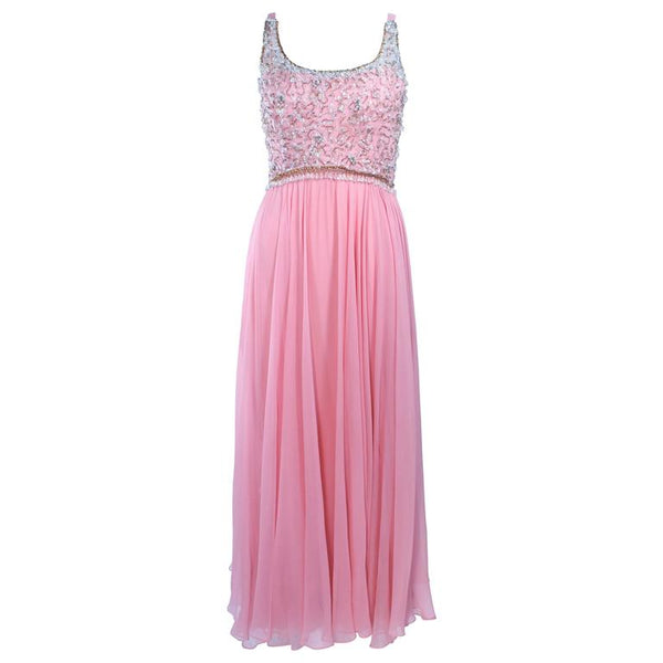 I. MAGNIN 1960s Hand Beaded Pink Chiffon Gown Size 4