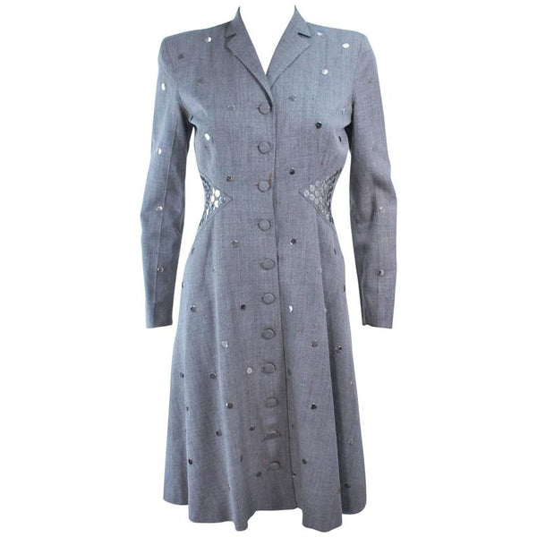 KAY COLLIER Grey Wool Coat Dress with Sequin Applique Size 2-4
