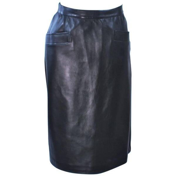 YVES SAINT LAURENT Black Leather Skirt Size 46