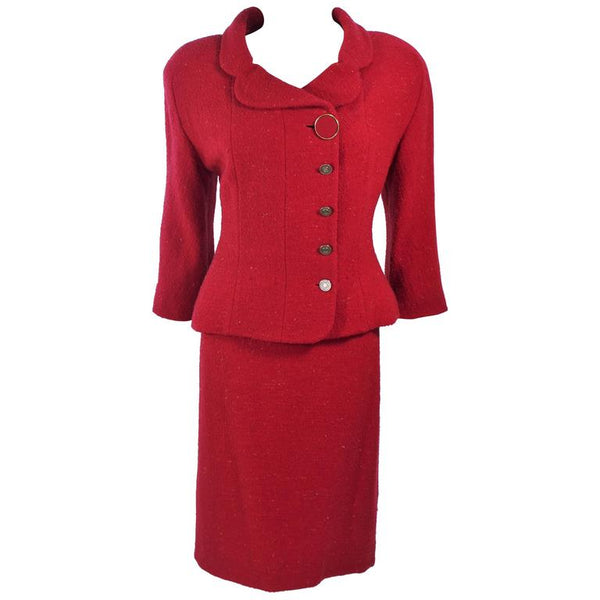 KARL LAGERFELD Red Boucle Skirt Suit Size 14