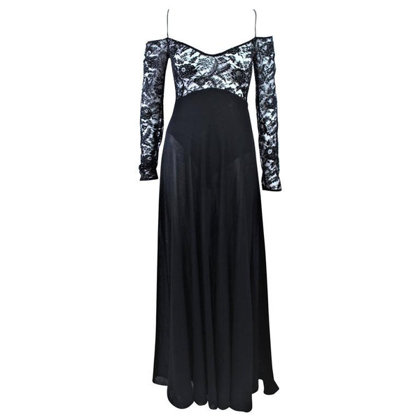 DONNA KARAN Black Lace Beaded Wool Gown Size 4-6