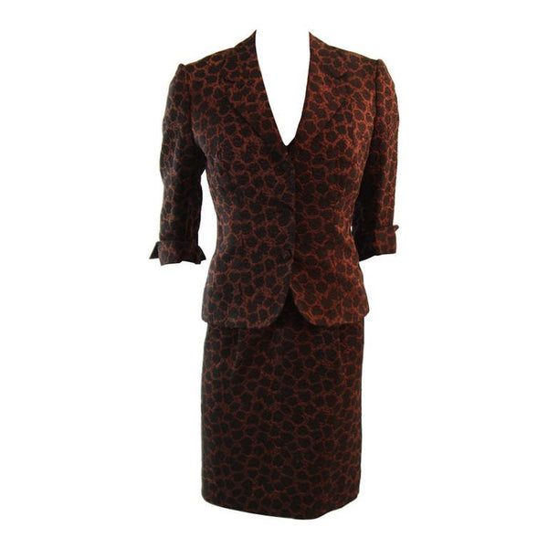 MINGOLINI GUGGENHEIM Brown and Black Beaded Couture Dress Set