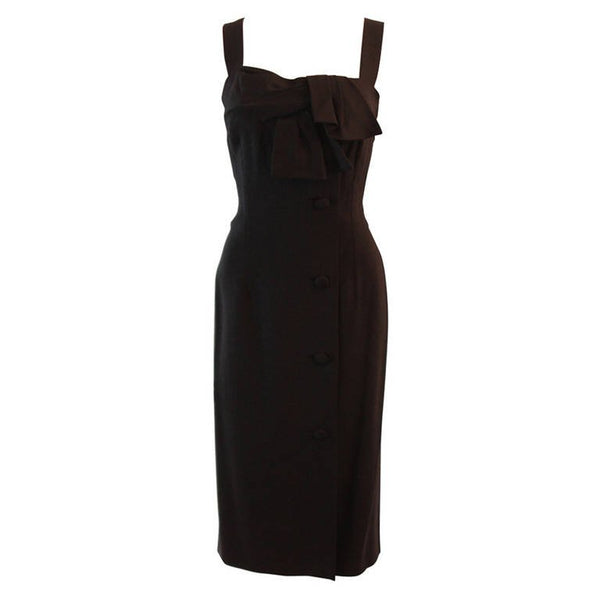 PIERRE BALMAIN Couture Black Linen Dress with Bow Accent