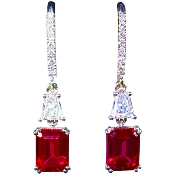 RUBY Trillion Diamond 14 Karat White Gold Drop Earrings