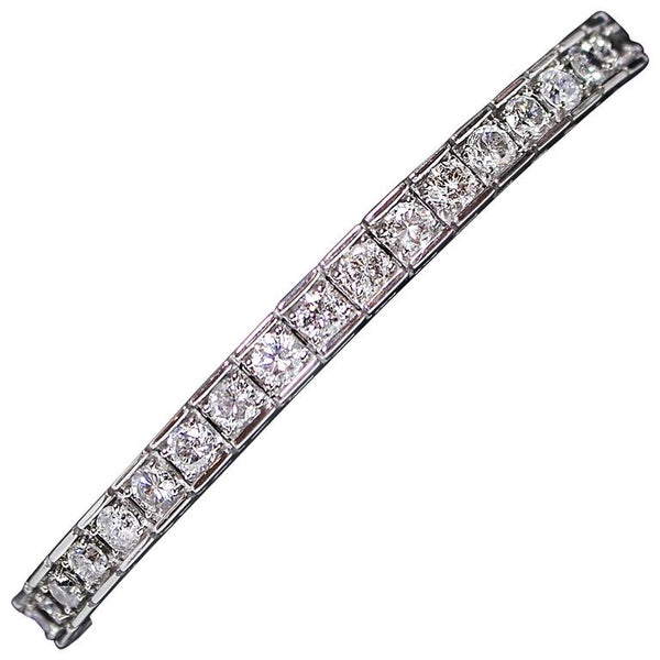 DIAMOND Round Cut 14 Karat White Gold Tennis Bracelet 7.02 Carat