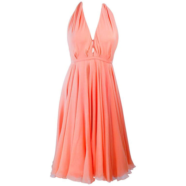 HALSTON 1970s Peach Layered Silk Chiffon Cocktail Dress Size 2-4