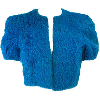 VINTAGE Circa 1950s Blue Curly Lamb Cropped Jacket Size Small