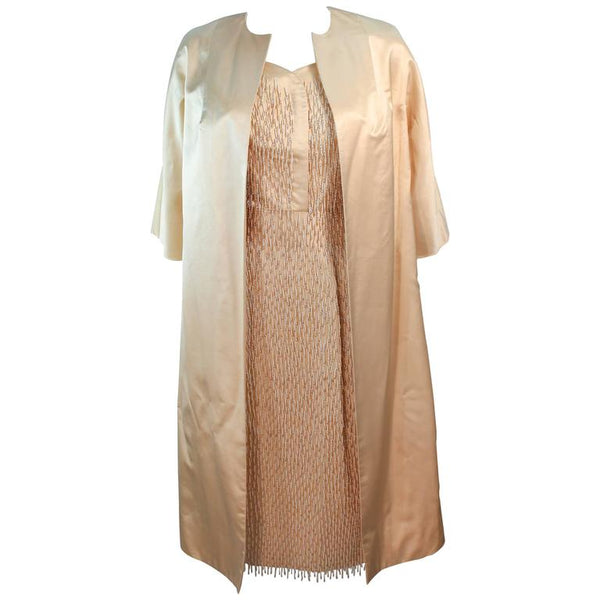 VINTAGE Circa 1960s Cream Silk Beaded Dress and Coat Size 6-8