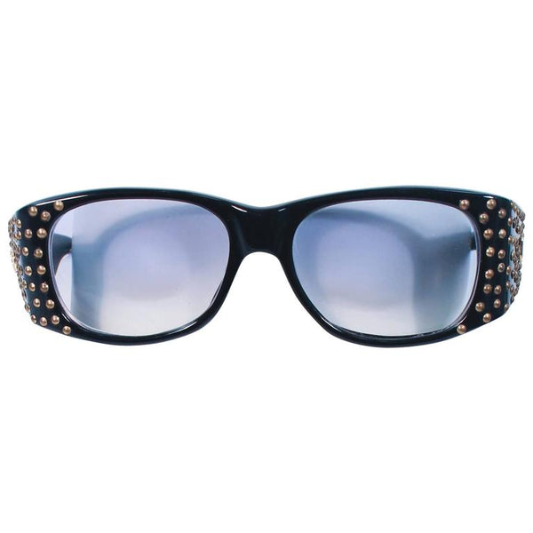 EMMANUELLE KHANH 1980s Black Sunglasses with Gold Metal Stud Accents