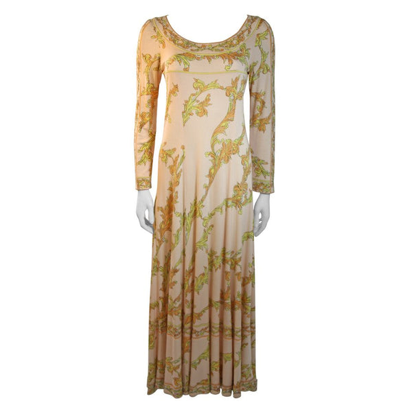 EMILIO PUCCI 1970s Peach with Yellow Print Silk Jersey Gown