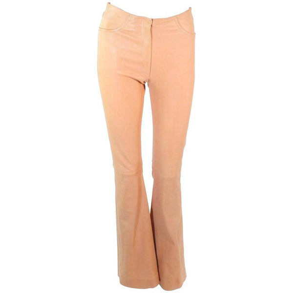 JEAN CLAUDE JITROIS Vintage Stretch Nude Leather Pants