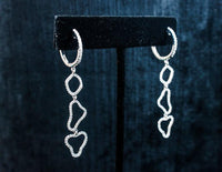 DIAMOND with 18 Karat White Gold Pave Dangle Earrings