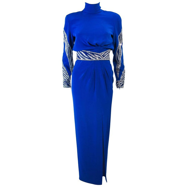 BOB MACKIE Royal Blue Gown with Beaded Applique Size 46