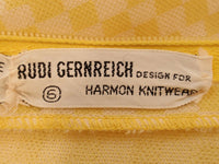 RUDI GERNREICH Vintage Yellow and White Check Sleeveless Pantsuit
