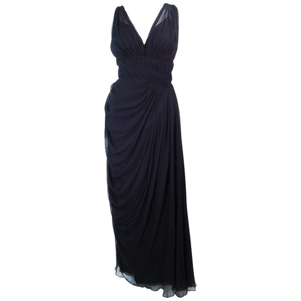 HELEN ROSE Circa Late 1950s Black Silk Chiffon Gown, Size 2-4