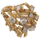 DIAMOND Artisan Ring 18 Karat Gold Hand Crafted Branches Size 5