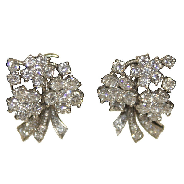 Diamonds Platinum Floral Motif Clip On Earrings