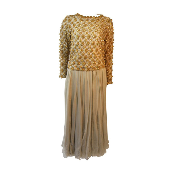VINTAGE Gold and Chiffon Embellished 2 pc Gown