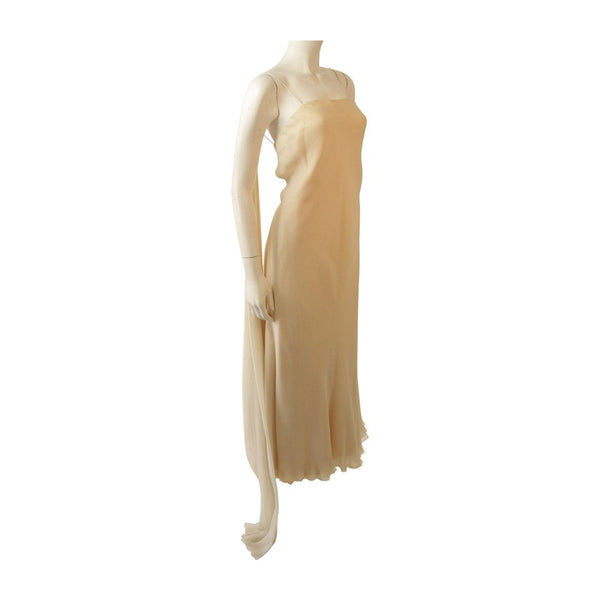 STAVROPOULOS 1970s Cream Silk Draped Silk Chiffon Gown