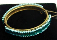MIRIAM HASKELL Mesh Hinged Bracelet with Blue Bugle and Seed Beads Signed with Chain