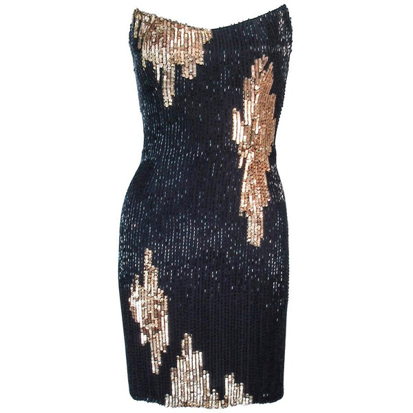 BOB MACKIE Circa 1990s Black & Gold Beaded  Dress