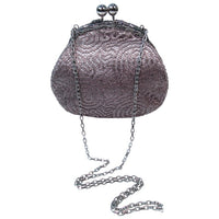 JUDITH LEIBER Embroidered  Purse with Silvertone Hardware