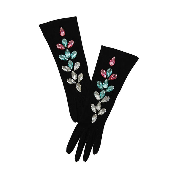 YVES SAINT LAURENT Jeweled Kidskin Suede Gloves Size 6.5