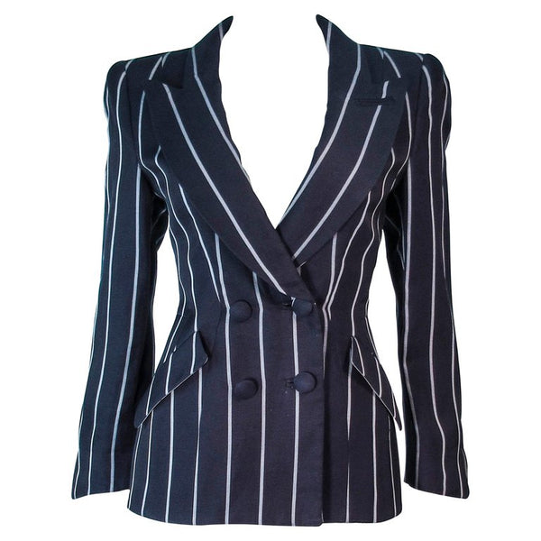 GIORGIO ARMANI Navy Striped Tailored Jacket Size 38