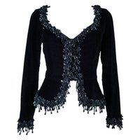 VICTOR COSTA Black Velvet Beaded Evening Jacket Size 4-6