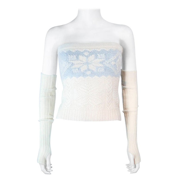 RALPH LAUREN Baby Blue and Cream Tube Top w/ Sleeves Size XS